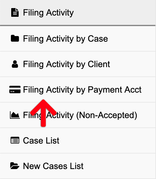 Filing Activity by Payment Account