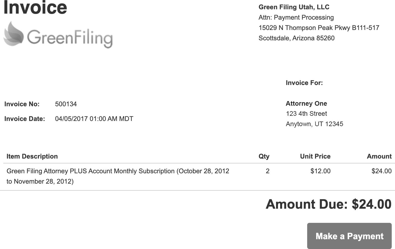 Sample Invoice Receipt